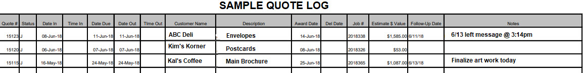 sample quote log